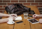 Business couple meeting in coffee shop thumbnail