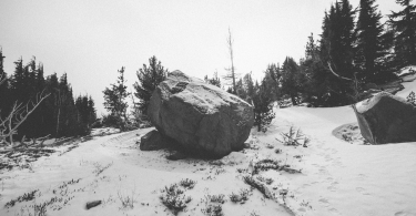 Rock in the snow thumbnail