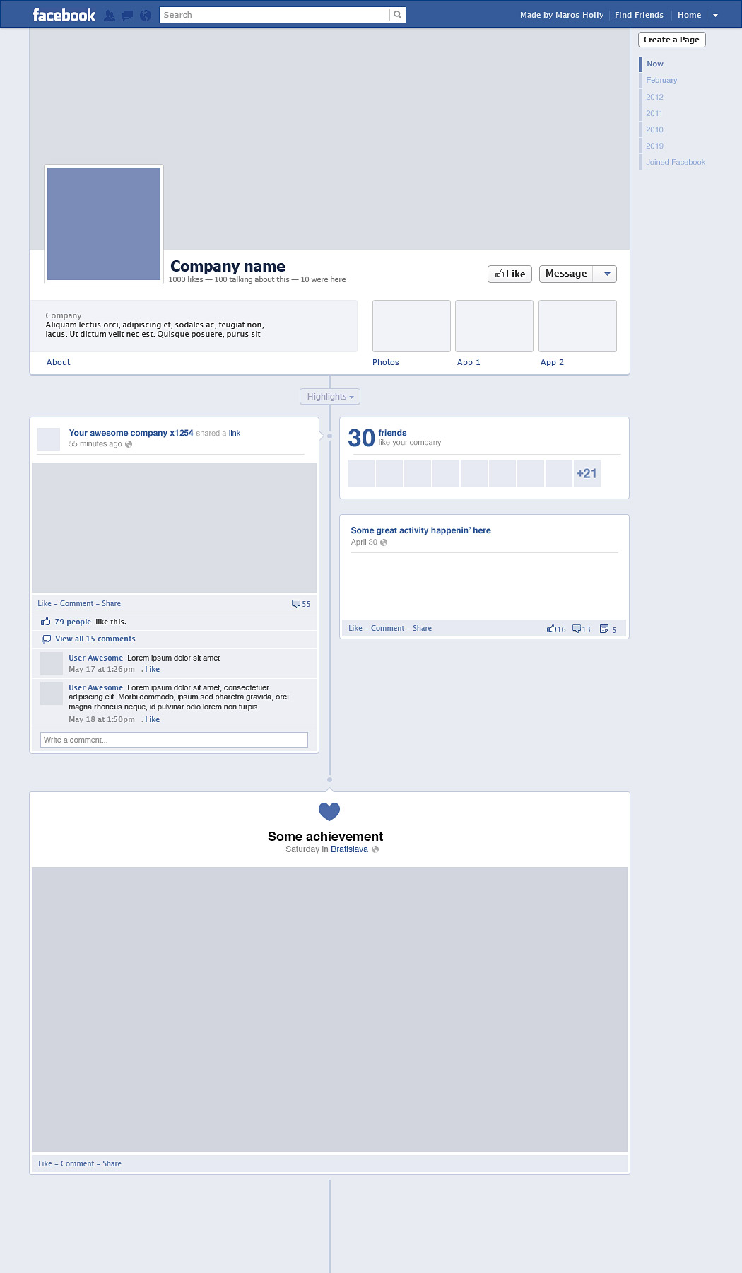 Facebook timeline free graphics for Facebook app template psd
