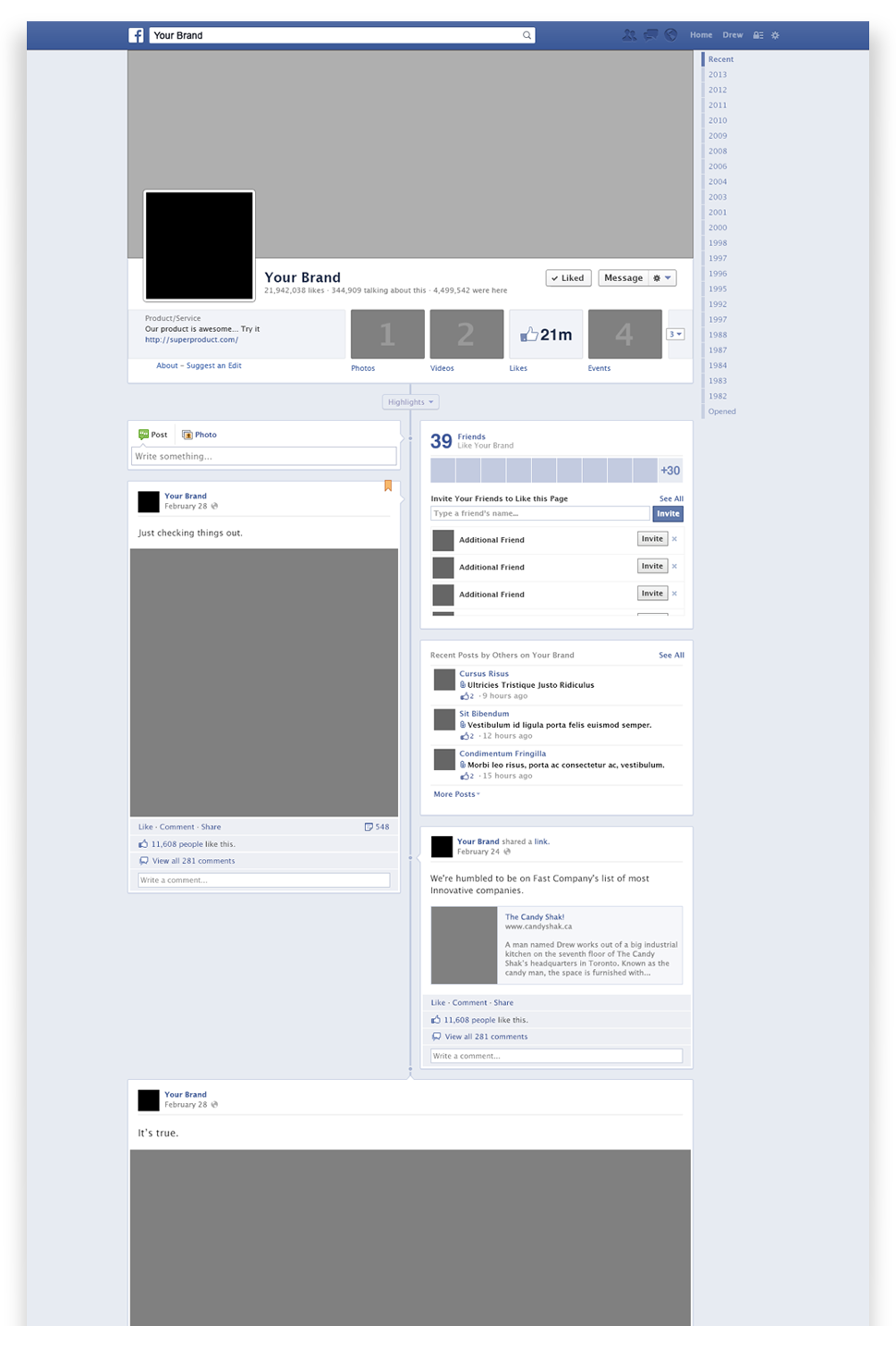 Facebook timeline mockup psd free graphics for Facebook app template psd