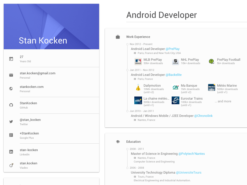 material design resume style free graphics
